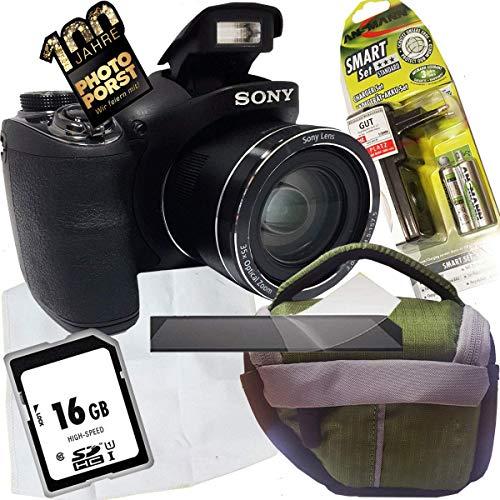 1A PHOTO PORST Jubiläums Angebot Sony Cyber-shot DSC-H300 Digitalkamera+SD 16 GB Speicherkarte+Tasche+Display-Schutzfolie+Akkus+Ladegerät+Mikrofasertuch