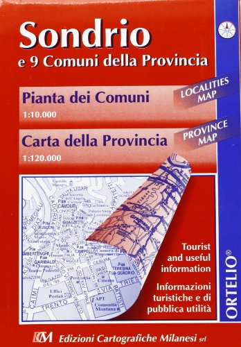 Sondrio e 9 comuni della provincia. Pianta delle città 1:10.000. Carta della provincia 1:120.000 (Italia carta guida alle sue strade)
