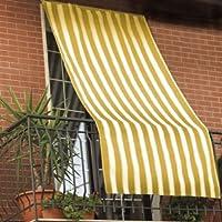 Tenda Da Sole 150x290cm In Tessuto A Strisce Con Anelli Ombra Per Balcone  Terrazzo Casa (