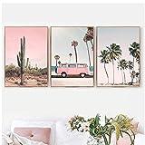 Bus rose, ananas de cactus, décoration murale de plage, affiche nordique et image de décoration de salon imprimée 3 pièces - pas de cadre photo 50X70 cm