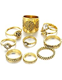 Hot And Bold Divine Vintage MIDI Rings / Finger Ring For Women & Girls - Set Of 9, Gold