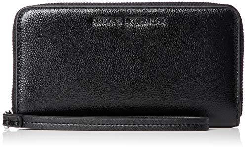 Armani Exchange Damen Wristlet Round-zip Geldbörse, Schwarz (Nero), 11.0x2.0x20.0 cm
