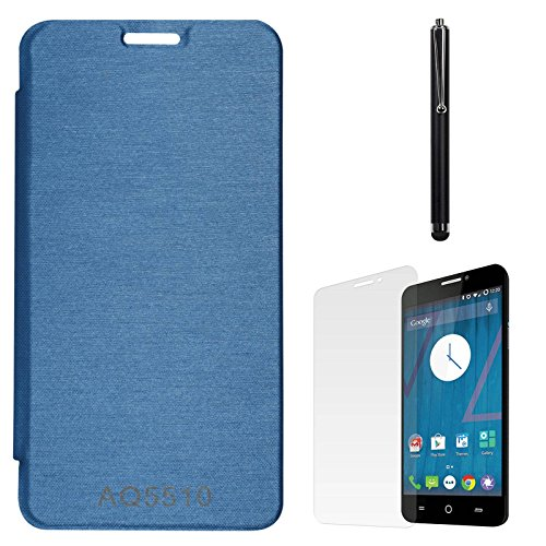 DMG Premium Hot Pressed PU Leather Flip Cover Case for Micromax Yureka Yu AQ5510 (Royal Blue) + Matte Screen + Stylus