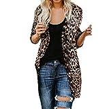 Xmiral Damen Strickjacke Mantel Baumwolle Langarm Leopardenmuster Fashion Tank Outwear Tops (S,Braun)