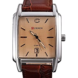 The new style square men's leather waterproof watch with calendar - brown