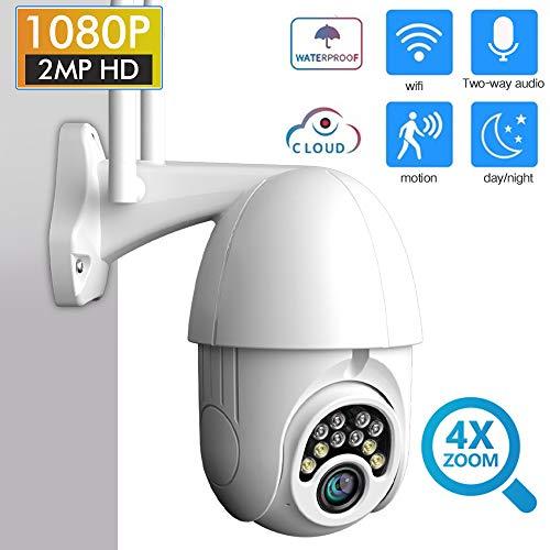 Elitlife Kamera Aussen mit 32G SD Card, 5X Zoom WLAN IP Dome Überwachungskamera Aussen 1080P Pan 355°/ Tilt 90°, Zwei Wege Audio, APP Alarm, IR Nachtsicht, Bewegungserkennung, IP66 Wasserdicht, Fernzugriff