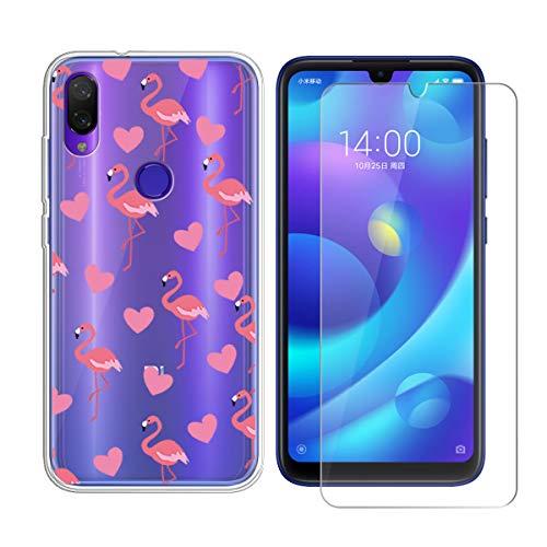 LYZX für Xiaomi Mi Play Hülle + Panzerglas Set Displayschutzfolie Schutzfolie Gehärteter Glas Film 9H Transparent Silikon Flexibel TPU Crystal Schutzhülle Case Cover (5.84