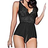 Kanpola Womens Lace Sexy Passion Lingerie, Backless Halter Babydoll G-string Deep V Suspender Open Crotch Jumpsuit