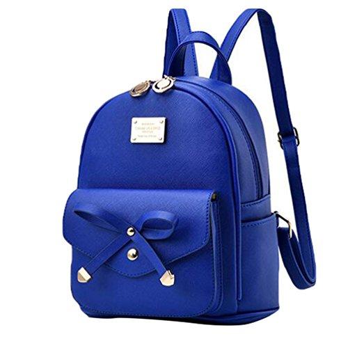 Baymate Damen Vintage PU Leder Rucksack Schultasche Daypacks Outdoor Umhängetasch Dunkel Blau
