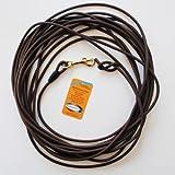 10 Meter Schleppleine aus dunkelbrauner, runder Biothane (coated rope)