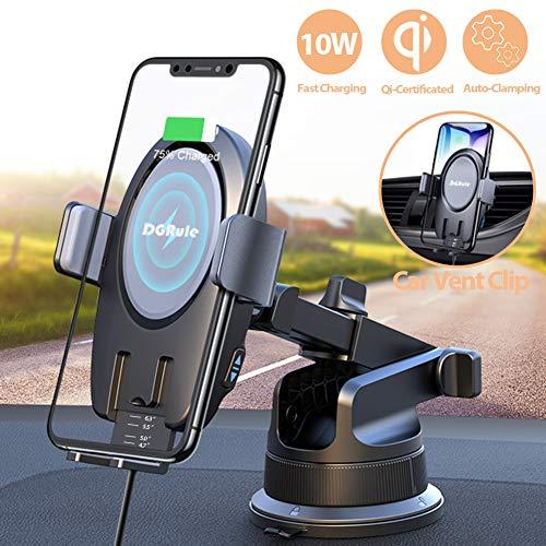 Caricatore Wireless Auto,Ricarica Rapida Caricabatterie Qi Wireless Auto,Supporta Auto da 10W per Samsung S10/S10e/S10 +/S9/S8/S8+,Nota 8,7.5 W per iPhone XS/XS Max/XR/X/8/8 Plus
