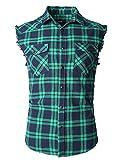 NUTEXROL Camicia Uomo Camicia Senza Maniche per Uomo, Verde,M