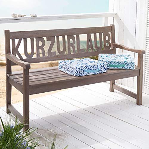 Pureday Gartenbank Kurzurlaub - Holzbank - Mangoholz - Grau Beige - Breite ca. 145 cm