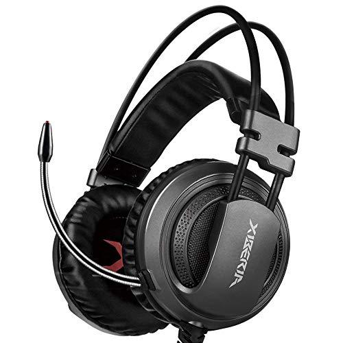 XIBERIA V10 Auriculares Gaming USB de Sonido Envolvente Cascos Gamer con Microfono para PC (Grey-3.5mm)