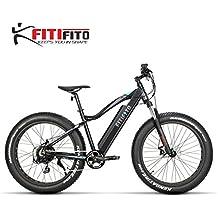 fitifito FT26 bicicleta eléctrica fatbike E-Bike Pedelec, 36 V 250 W Motor trasero, Kenda 26 x 4,0 MTB neumáticos, negro mate gris