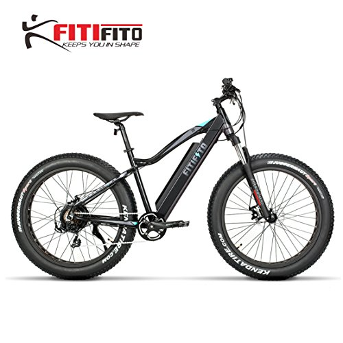 Fitifito FT26 Elektrofahrrad Fatbike E-Bike Pedelec, 36V 250W Heckmotor,36V 13Ah 468W Samsung Akku, Kenda 26 x 4,0 MTB Reifen, Matt Schwarz Türkis