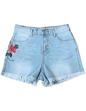 Donna Sexy Corto Jeans,Longra Donna Estate Fiore Ricamo Rose Jeans A Vita Alta Caldo Denim Pantaloncini Casuale...