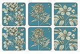 Pimpernel Sottobicchieri con disegni di rose all'acquaforte, legno, blu, media, set di 6
