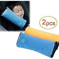 Amaoma 2 Piezas Almohadilla Cinturon Seguridad Para Niños y Bebés, Asiento de Seguridad Para el Automóvil, Cojín de Viaje Cuello Soporte Para Niños, Adultos, Tercera Edad (Amarillo, Azul)