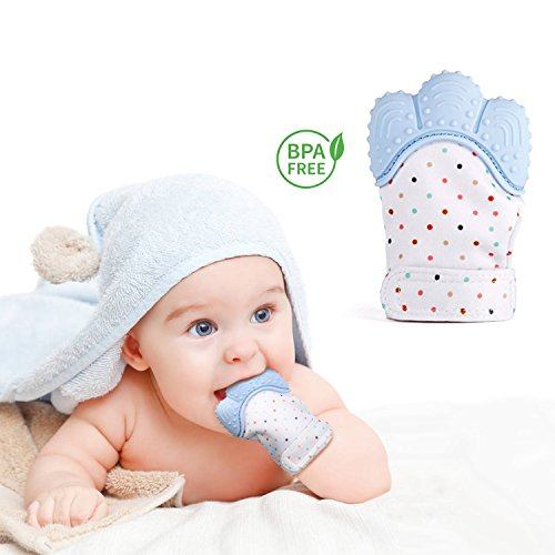 BabyTeething Mitten Soother Glove-Teething Toys Provides Self-Soothing Fun -Pain Relief Remedy for Sore Gums and Cutting Teeth, Gel Applicator for Babies 2-12 Months,BPA-FREE 51f7e3rv9YL