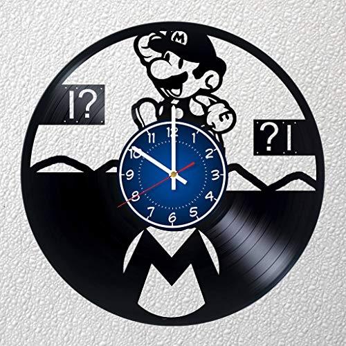 Mario 12 Zoll / 30 cm Spiel-Vinyl-Platten-Wanduhr, Mario Fan Geschenk, Jungenzimmer, Dekoration für Zuhause, Kunst-Party, Mario & Luigi, Super Mario RPG, Papier Mario, Mario fehlt!
