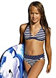 Kinder Mädchen-Bikini Strandbekleidung Badebekleidung Badeanzug Badeanzug dunkelblau Marineblau, dark Blue navy, 128 cm