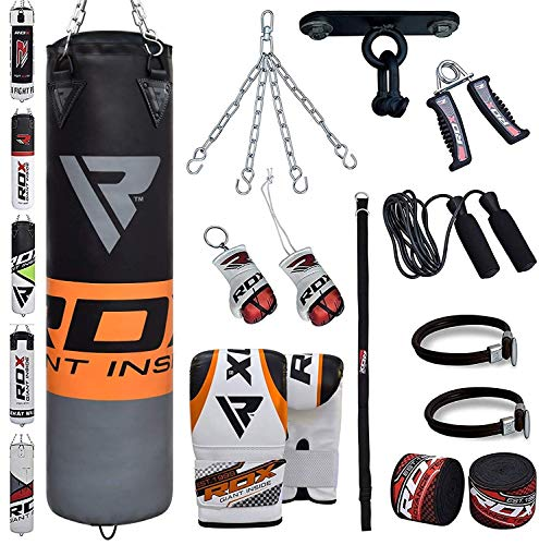 RDX 13PC Sac de Frappe 4FT 5FT Rempli Lourd Punching Ball MMA Muay Thai Kickboxing Arts Martiaux Kit...
