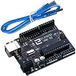 Elegoo UNO R3 Tarjeta UNO R3 Placa con Microcontrolador Basada en el ATmega328P ATMEGA16U2 con Cable USB Compatible con Arduino UNO Tarjeta