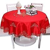 Nclon Stickerei Tischdecke,Runden Premium Pfingstrose Klassische Retro Satin Esstisch Tischdecke Elegante Tischtuch tischwäsche Hotel-Rot Durchmesser 120cm