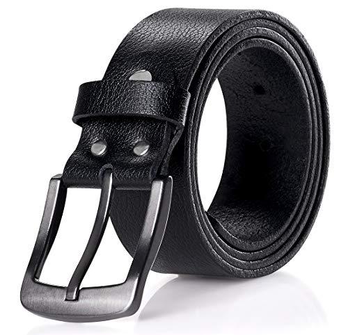 MERISH ® Herren Gürtel Schwarz Ledergürtel Echtleder gute Qualität Vollleder für Männer 100-115 CM kürzbar 38mm Breit - 3-4mm Stark 425 (105 cm, 425 Schwarz)