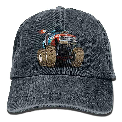 Zhgrong Monster Truck Fired Denim Hat Adjustable Funny Baseball Cap Beach hat (Rv-monster-truck)