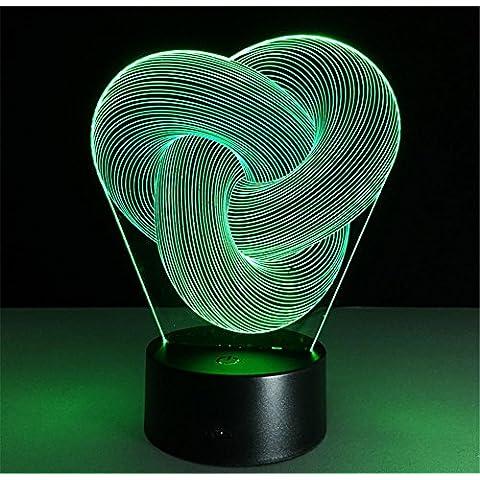 terzi anello Desk Lamp 3d 7 colori cambiano tocco passare Tabella telecomando luce principale di notte di illuminazione della decorazione della casa Accessori Casalinghi