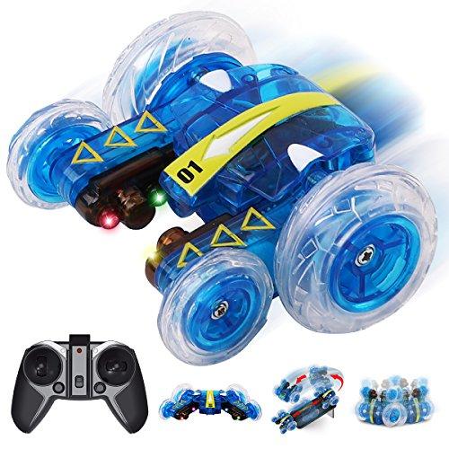 GILOBABY Remokids Ferngesteuertes Autos, Elektrisches RC Spielzeug, Remote Control Auto Whit mit leistungsstarken LED,2,4 GHz,360 Flip,2 Seiten Laufen,15MPH, Off-Road-Fahrzeug, Geschenke für Kinder