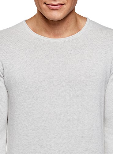 oodji Ultra Herren Baumwoll-Pullover Basic Grau (2000M)