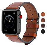Fullmosa Apple Watch Armband 38mm und 42mm, Wax Series iWatch Leder Band/Armbänder für Apple Watch Series 3, Series 2, Series 1,38mm Uhrenarmband, Dunkelbraun + Dunkelgrau Schnalle
