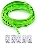NEON Flach elastische Schnürsenkel ohne Knoten, mit verstellbarer Verriegelung, 90cm (neongrün)