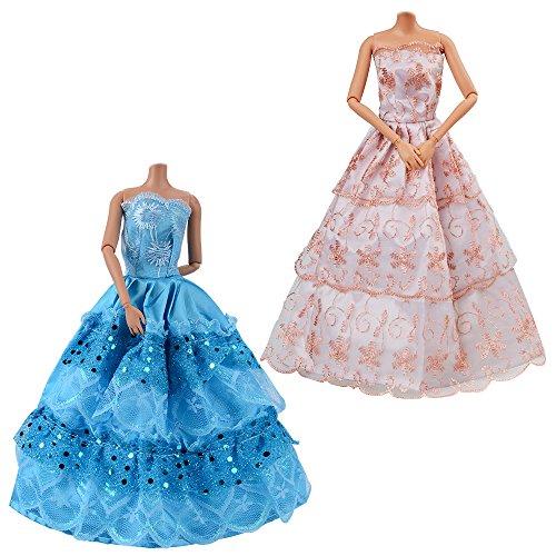 ASIV 10er Pack Kleider & Kleidung für Barbie Puppen, Modisch Handmade Brautkleider Party Abendkleid für Mädchen Geschenk