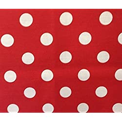 Rojo Grande / Blanco Lunares Tela Polycotton (Por Metro)