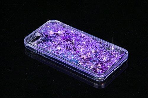 Copertura dura per la iPhone 6/6S 4.7, iPhone 6/6S 4.7 Custodia In TPU silicone e plastica, Case Cover per iPhone 6/6S 4.7 in 3D Trasparente, Ukayfe Flowing Sparkles Argento Shinny Glitter Scintillio  Viola Amore