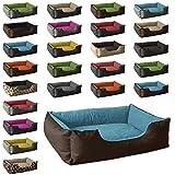 BedDog Hundebett LUPI/Hundesofa aus Cordura & Microfaser-Velours/waschbares Hundebett mit Rand/Hundekissen Vier-eckig/für drinnen & draußen/L/Mountain-Blue/braun-blau