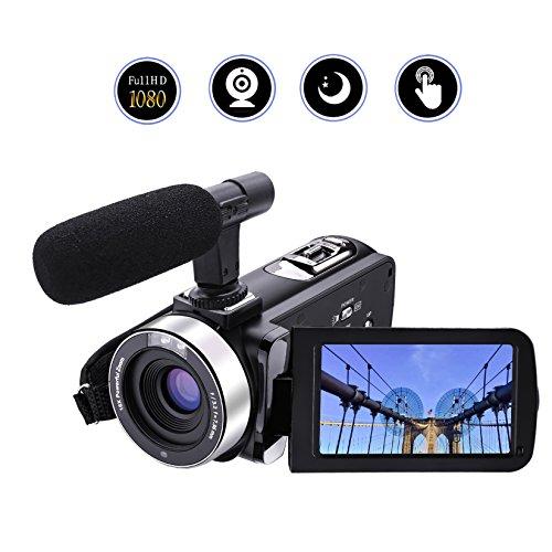 Caméscope Caméra Vidéo Full HD 1080p/30FTPS 24.0MP Appareil Photo Numérique Microphone Externe Enregistreur Vidéo Night Vision Webcam avec Télécommande