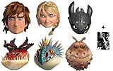 How To Train Your Dragon 2 (Dragons 2) - Masque en carton de 2D paquet de 6 (Hiccup, Toothless, Astrid, Nadder, Gronckle et Monstrous Nightmare) Comprend une photo étoile (15x10cm)