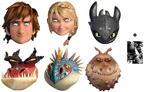 How To Train Your Dragon 2 - Karte Partei Gesichtsmasken (Maske) Packung von 6 (Hiccup, Toothless, Astrid, Nadder, Gronckle und Monstrous Nightmare) Enthält 6X4 (15X10Cm) - Hick Party Kostüm