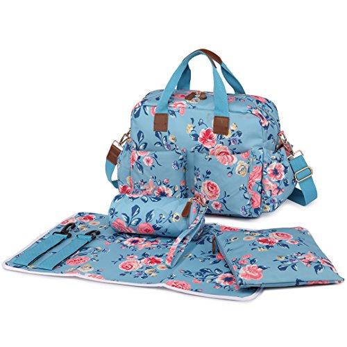 s 4-teiliges Wachstuch Schwangerschafts Baby Wickeltasche Set Flower Print Leichtes Big Handbag Blau (Baby-boutiquen Online)
