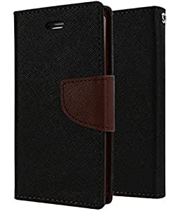Cover Wala Best Quality Jeans Fabric Flip Cover with Excellent Fitting for Samsung Galaxy A8 - Black Brown