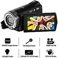 """Videocámara FHD Cámara Digital 1080p Zoom 16X Zoom 20.0MP Cámara de visión Nocturna Cámara de Video Pantalla LCD TFT de 3.0""""con Control Remoto"""