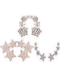 Yumi Lok 3 pares Oro Rosa 925 Plata de ley circonitas estrellas pendientes Juego de sujeción oído Pendientes Ear Puños para mujer mujeres niña