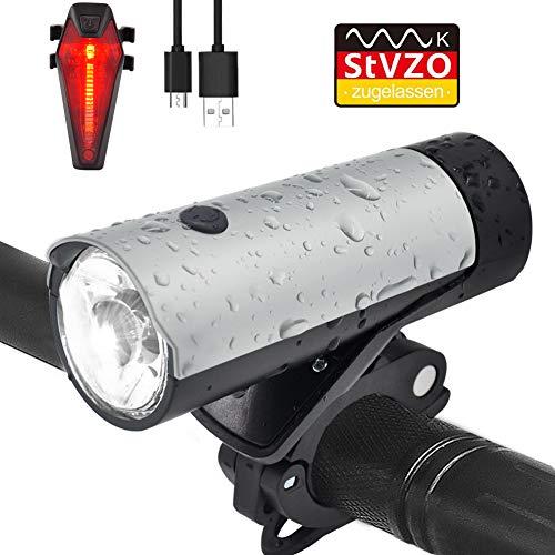 LED Fahrradbeleuchtung Set, TOODA Fahrradlicht StVZO Zugelassen, mit CREE LED, USB Wiederaufladbare, 50 LUX, 2600 mAh Samsung L-Ionen-Akku IPX4 Wasserdicht Ideal für Mountainbikes,Straßenrädern
