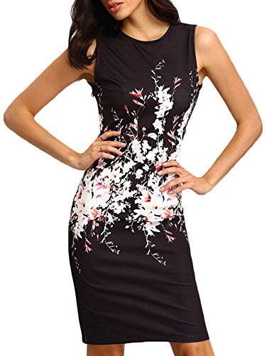 Elevesee Women's Floral Bodycon Cocktail Party Summer Dresses Black Medium