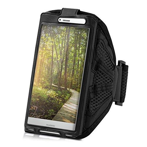 Galleria fotografica kwmobile fascia da braccio sportiva per Huawei P9 Lite - jogging corsa borsa da sport fascia per fitness in nero